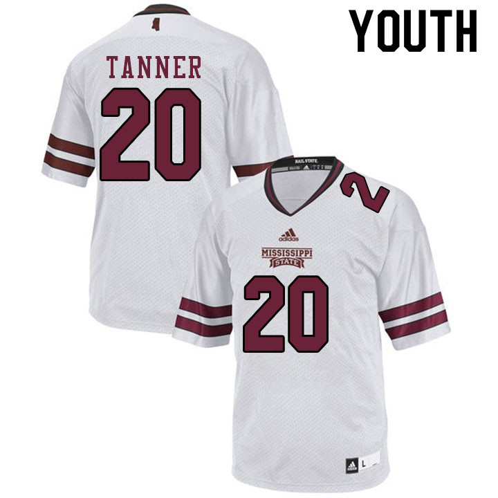 Youth #20 Lee Tanner Mississippi State Bulldogs College Football Jerseys Sale-White