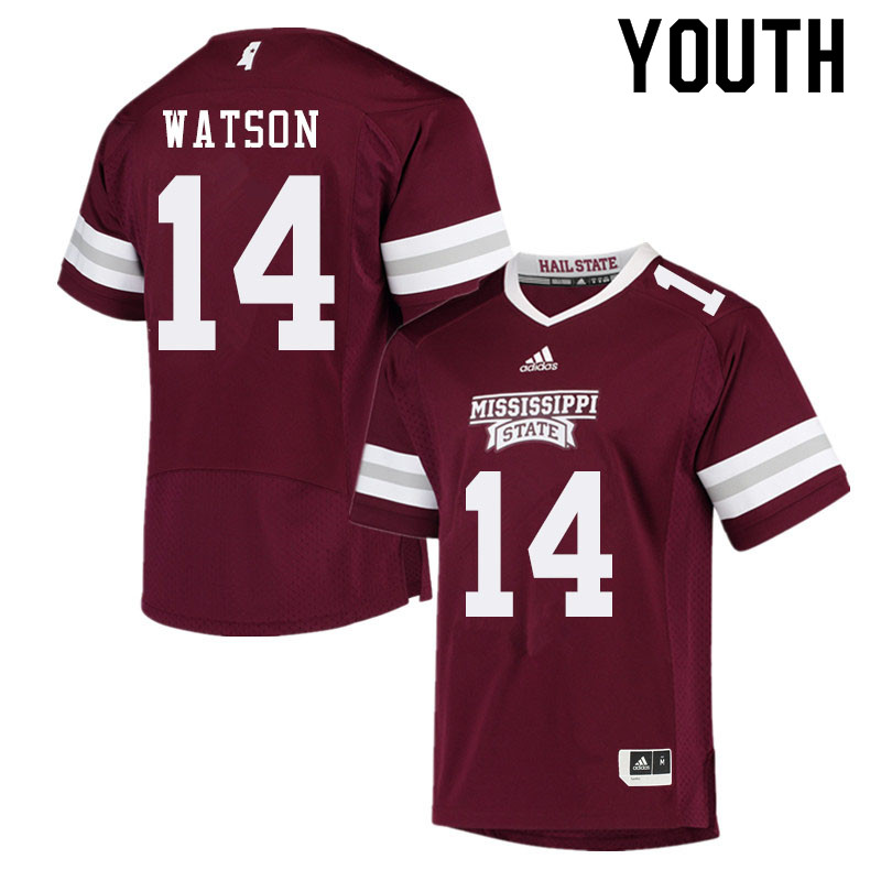 Youth #14 Nathaniel Watson Mississippi State Bulldogs College Football Jerseys Sale-Maroon