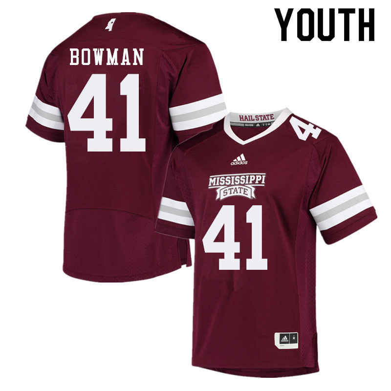 Youth #41 Reed Bowman Mississippi State Bulldogs College Football Jerseys Sale-Maroon