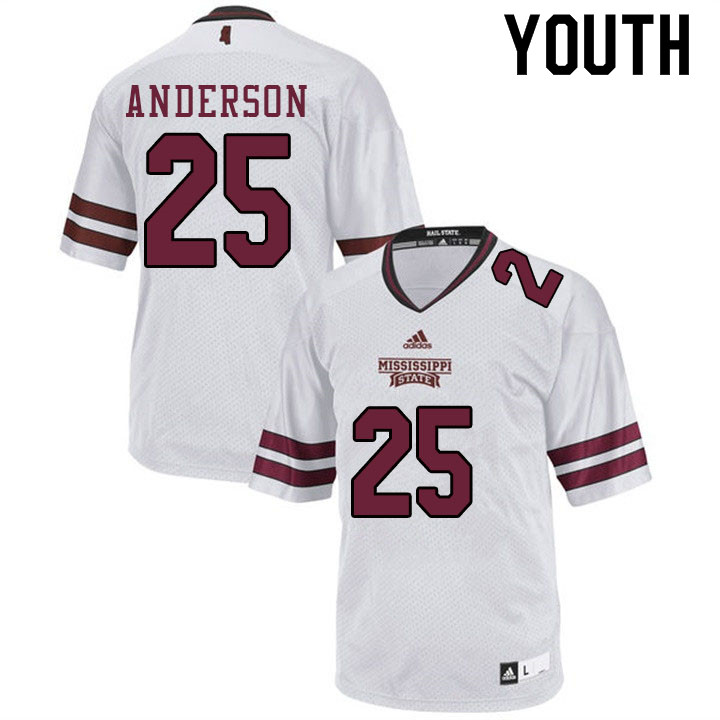 Youth #25 Somon Anderson Mississippi State Bulldogs College Football Jerseys Sale-White