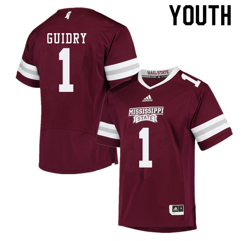 Youth #1 Stephen Guidry Mississippi State Bulldogs College Football Jerseys Sale-Maroon