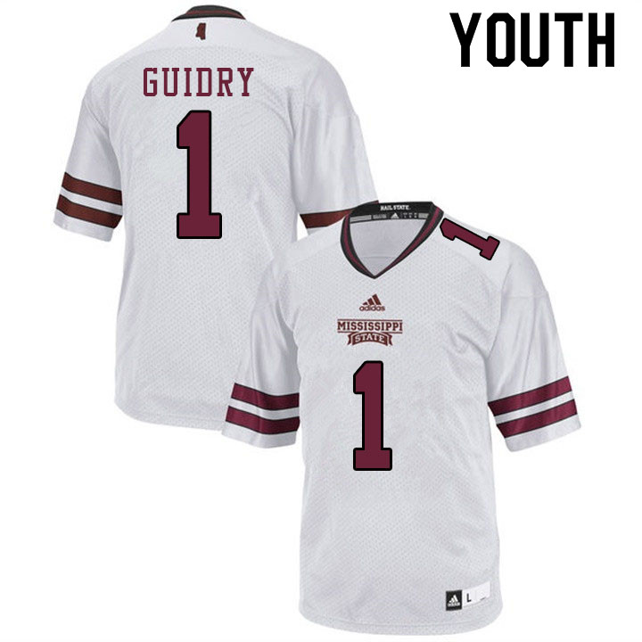 Youth #1 Stephen Guidry Mississippi State Bulldogs College Football Jerseys Sale-White