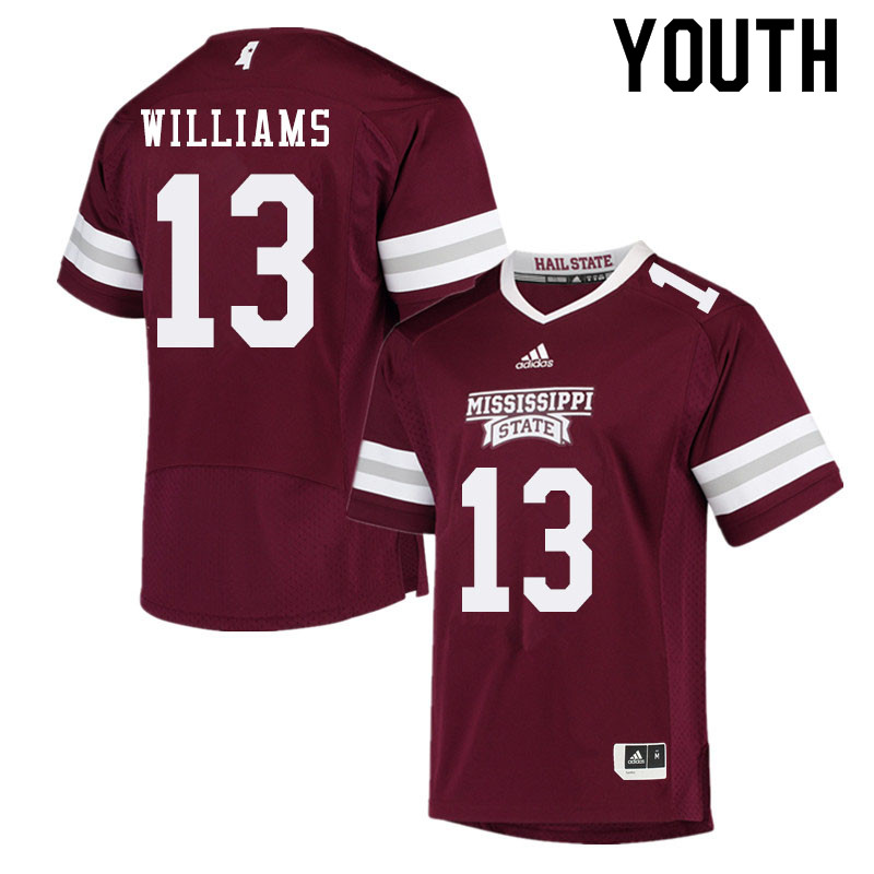 Youth #13 Tyler Williams Mississippi State Bulldogs College Football Jerseys Sale-Maroon