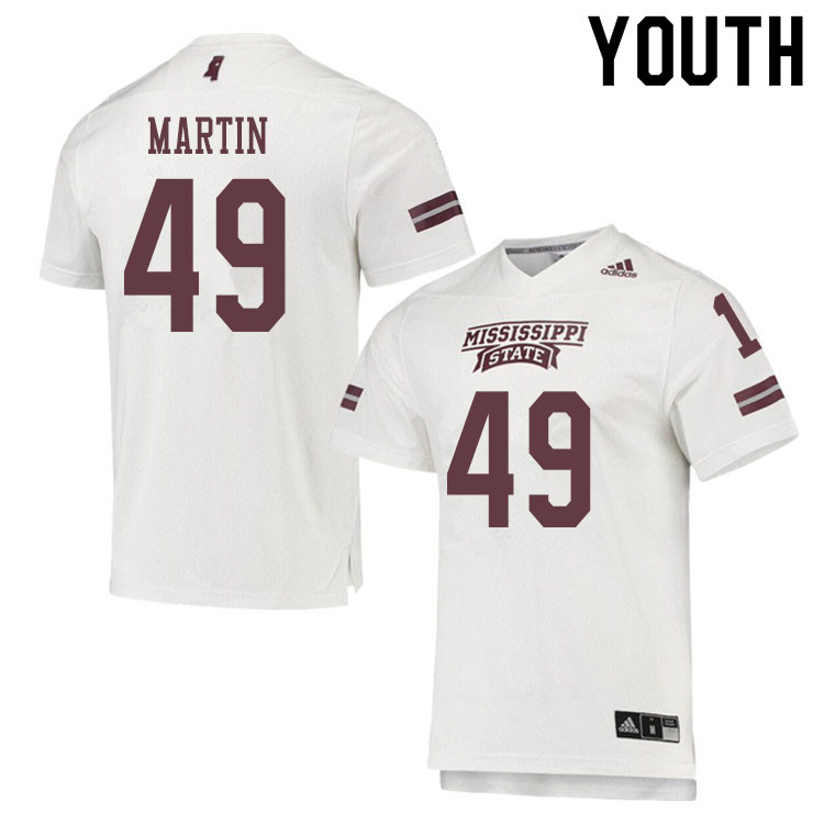 Youth #49 Aidan Martin Mississippi State Bulldogs College Football Jerseys Sale-White