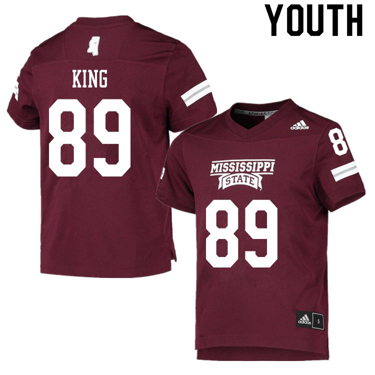Youth #89 Brodie King Mississippi State Bulldogs College Football Jerseys Sale-Maroon