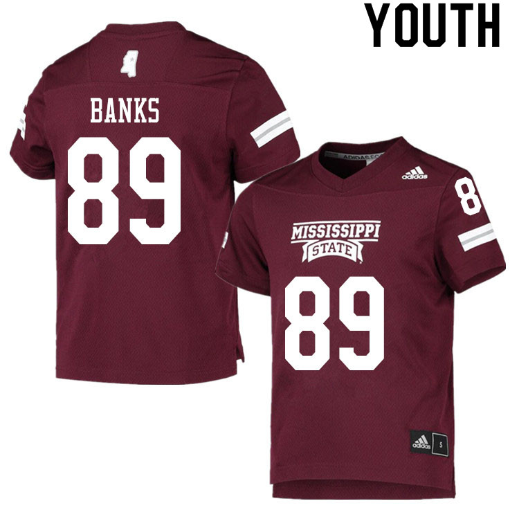 Youth #89 Carson Banks Mississippi State Bulldogs College Football Jerseys Sale-Maroon
