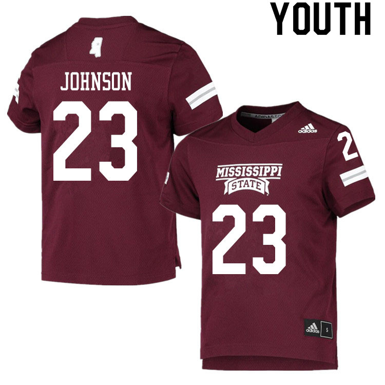 Youth #23 Dillon Johnson Mississippi State Bulldogs College Football Jerseys Sale-Maroon