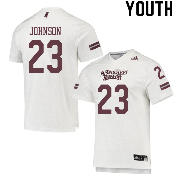 Youth #23 Dillon Johnson Mississippi State Bulldogs College Football Jerseys Sale-White