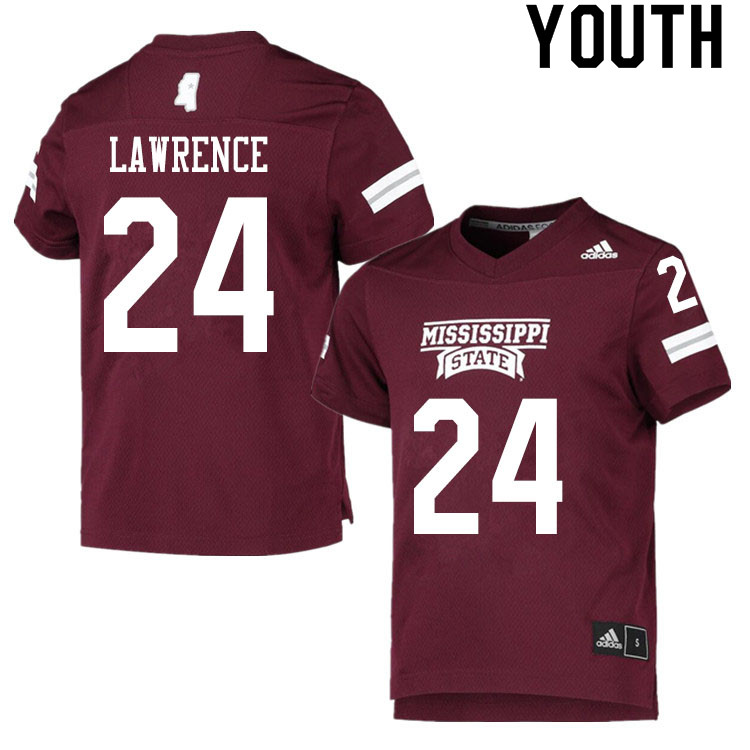 Youth #24 Dylan Lawrence Mississippi State Bulldogs College Football Jerseys Sale-Maroon