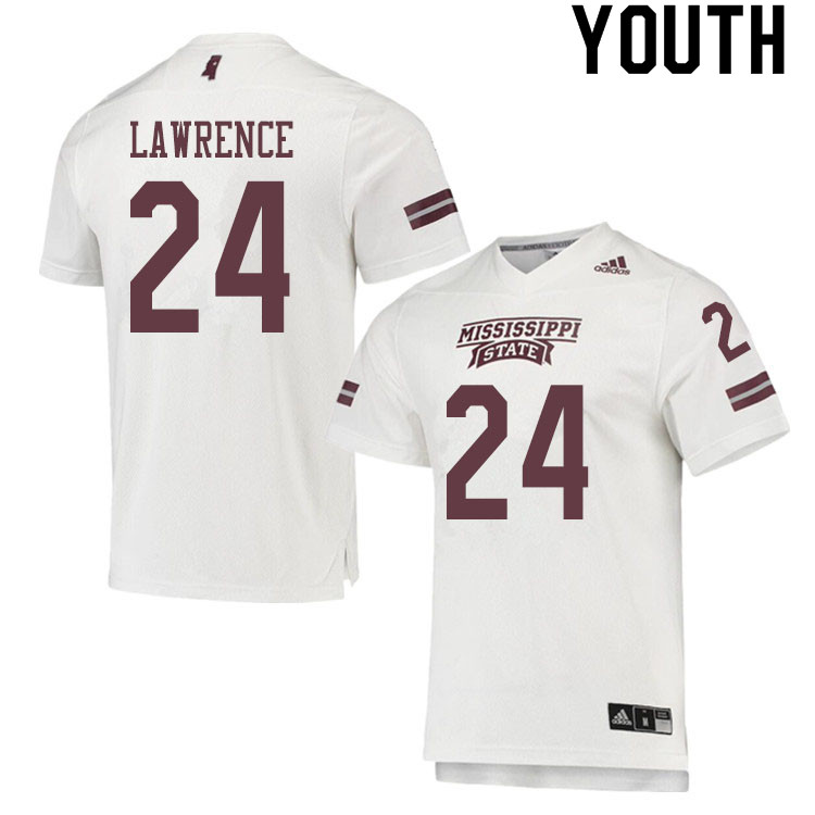 Youth #24 Dylan Lawrence Mississippi State Bulldogs College Football Jerseys Sale-White