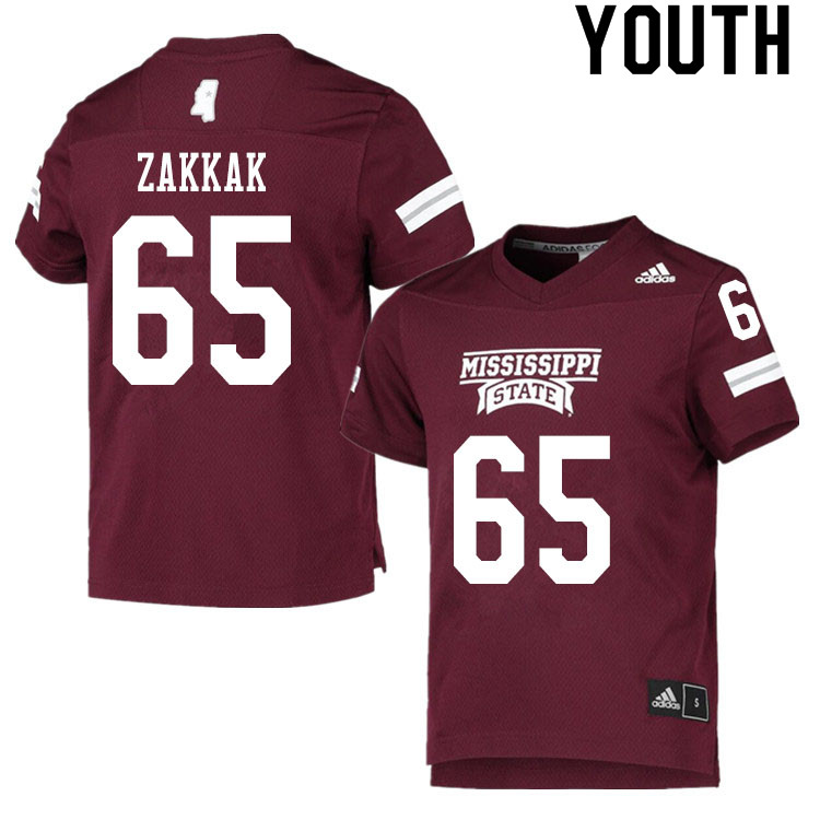 Youth #65 JT Zakkak Mississippi State Bulldogs College Football Jerseys Sale-Maroon