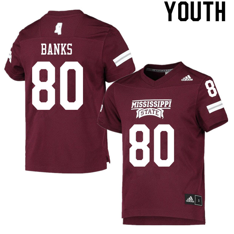 Youth #80 Jay Banks Mississippi State Bulldogs College Football Jerseys Sale-Maroon