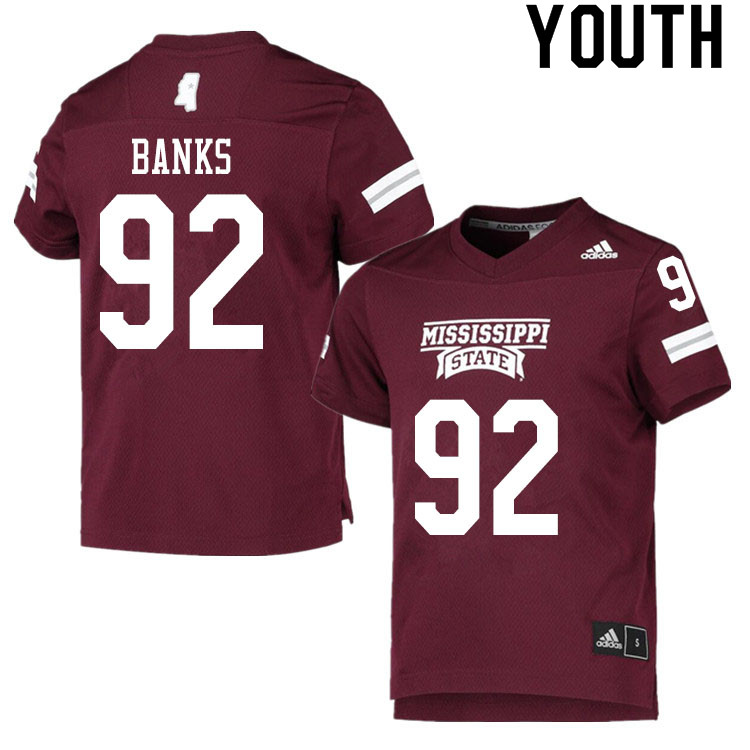 Youth #92 Jevon Banks Mississippi State Bulldogs College Football Jerseys Sale-Maroon