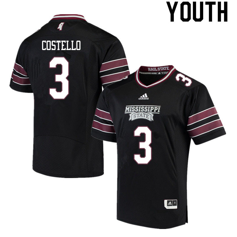 Youth #3 K.J. Costello Mississippi State Bulldogs College Football Jerseys Sale-Black