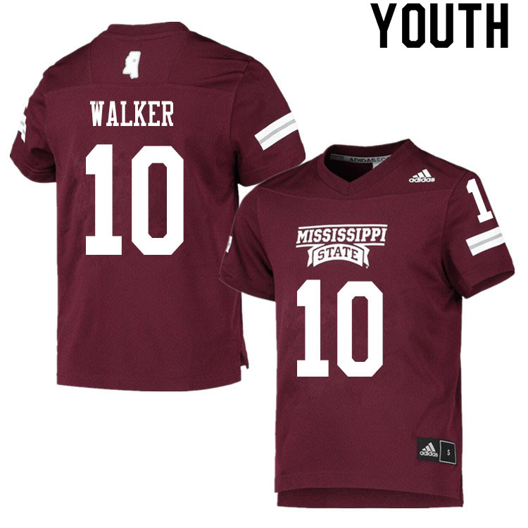 Youth #10 Kareem Walker Mississippi State Bulldogs College Football Jerseys Sale-Maroon