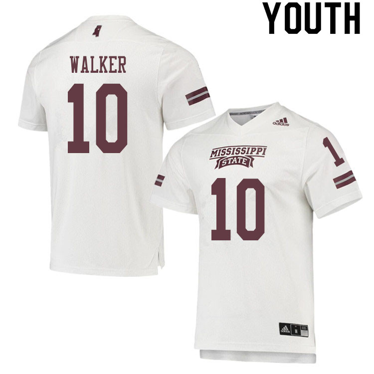 Youth #10 Kareem Walker Mississippi State Bulldogs College Football Jerseys Sale-White