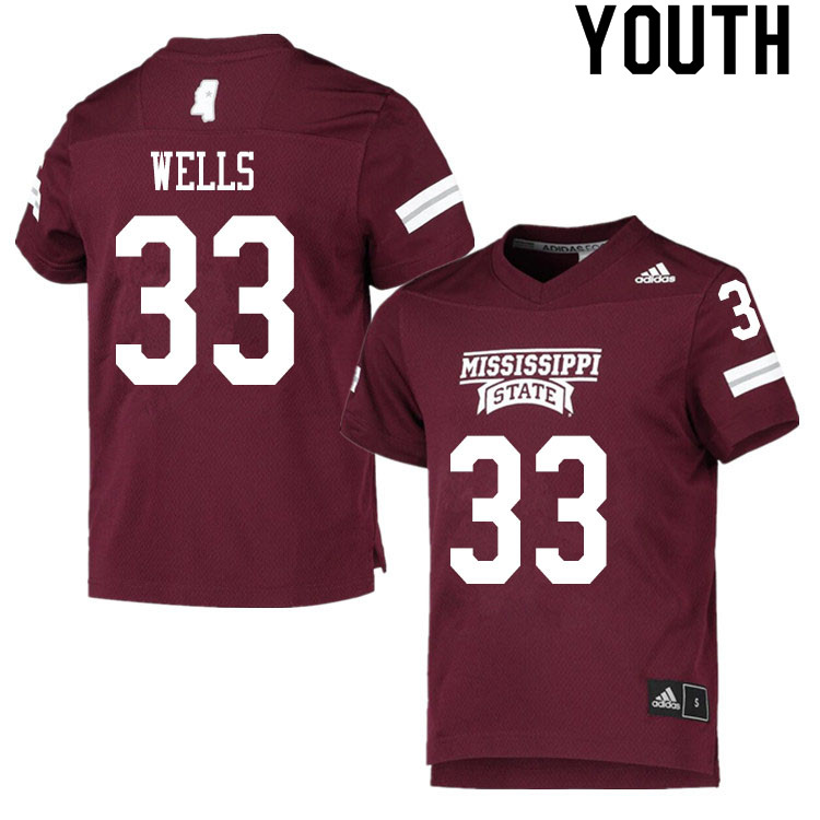 Youth #33 Omni Wells Mississippi State Bulldogs College Football Jerseys Sale-Maroon