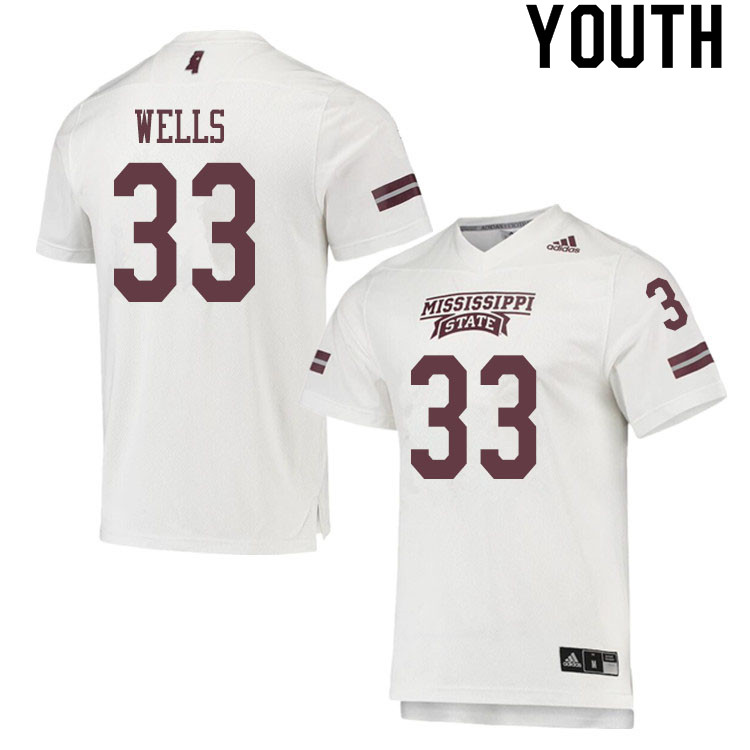 Youth #33 Omni Wells Mississippi State Bulldogs College Football Jerseys Sale-White
