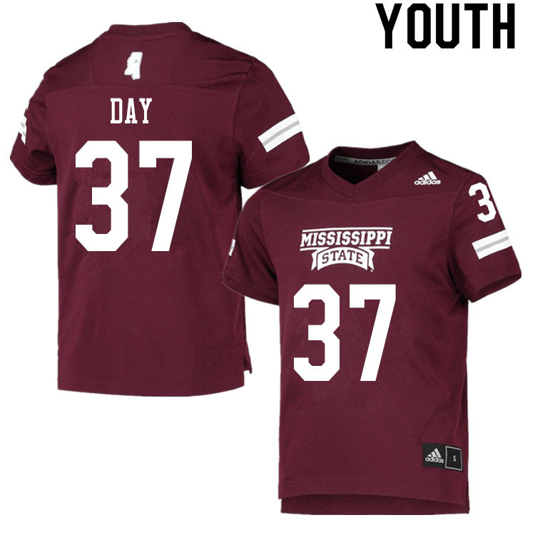 Youth #37 Tucker Day Mississippi State Bulldogs College Football Jerseys Sale-Maroon