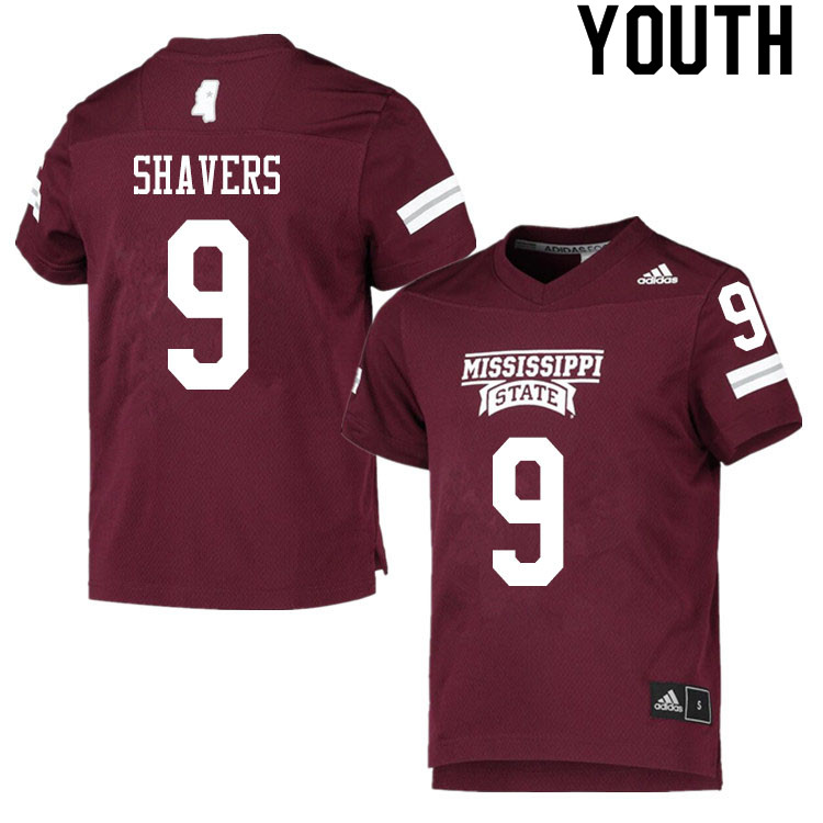 Youth #9 Tyrell Shavers Mississippi State Bulldogs College Football Jerseys Sale-Maroon