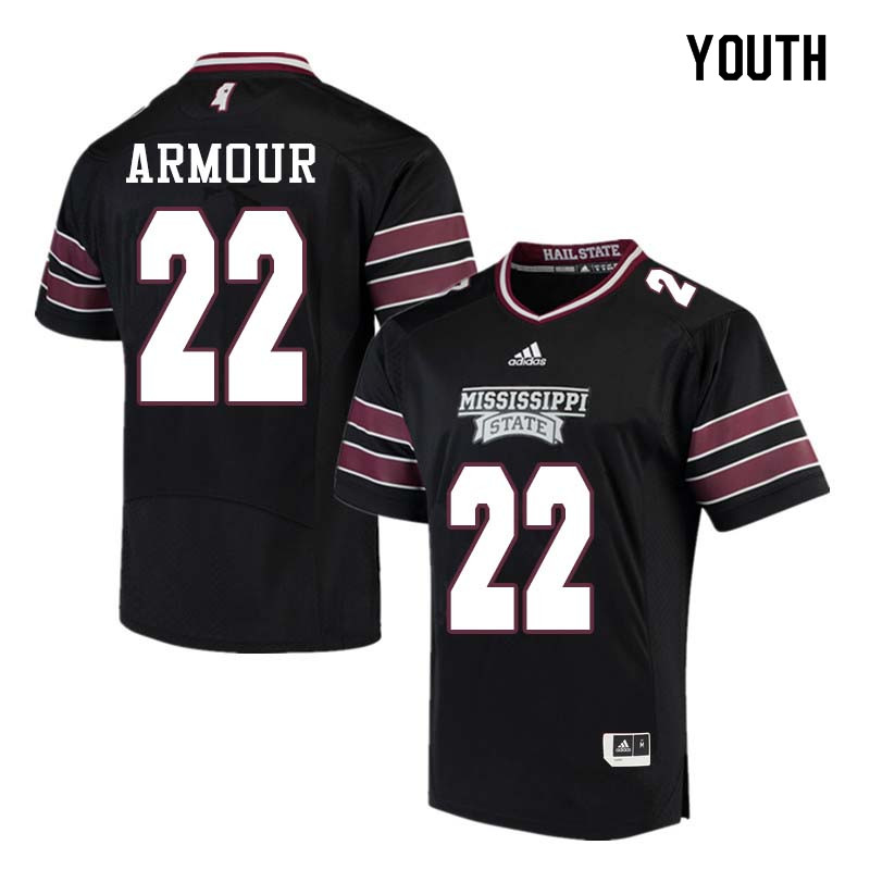 Youth #22 Blake Armour Mississippi State Bulldogs College Football Jerseys Sale-Black