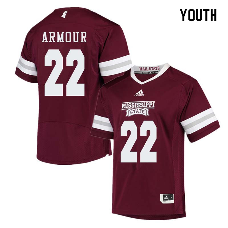 Youth #22 Blake Armour Mississippi State Bulldogs College Football Jerseys Sale-Maroon