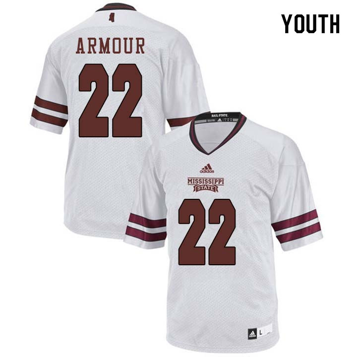 Youth #22 Blake Armour Mississippi State Bulldogs College Football Jerseys Sale-White