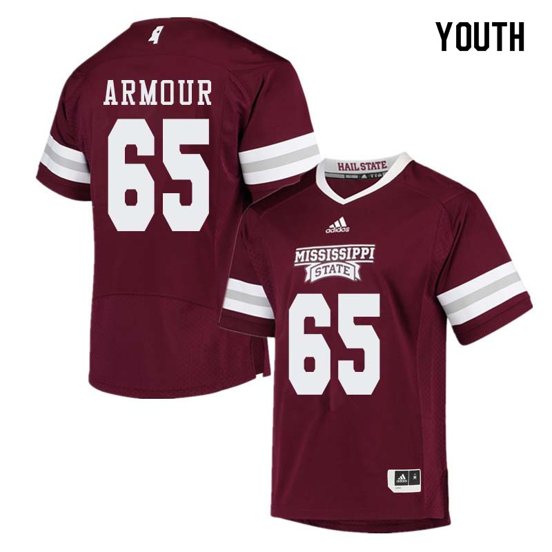 Youth #65 Brett Armour Mississippi State Bulldogs College Football Jerseys Sale-Maroon