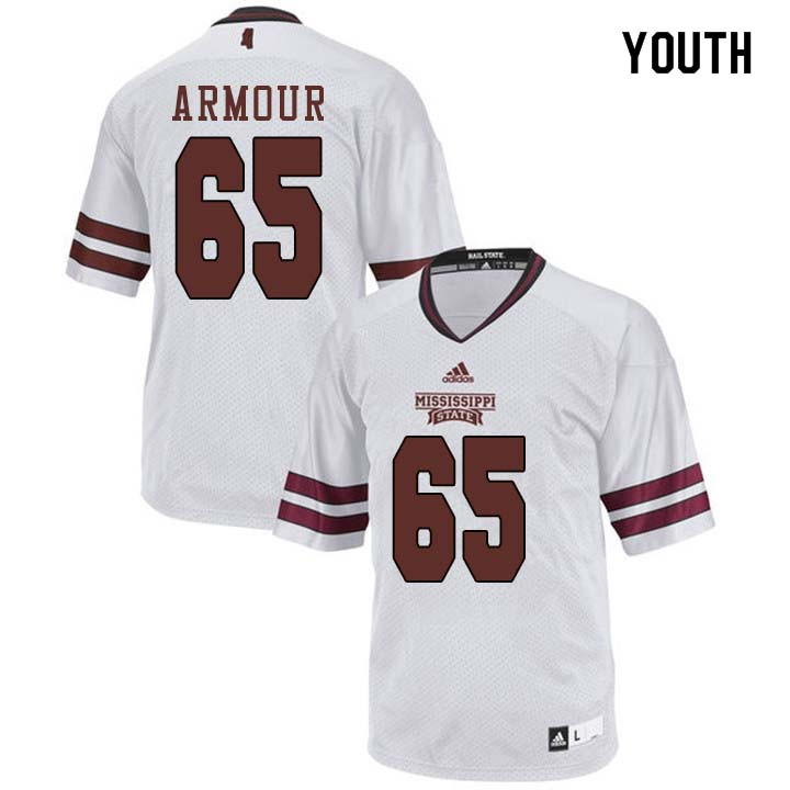 Youth #65 Brett Armour Mississippi State Bulldogs College Football Jerseys Sale-White