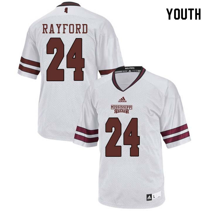 Youth #24 Chris Rayford Mississippi State Bulldogs College Football Jerseys Sale-White