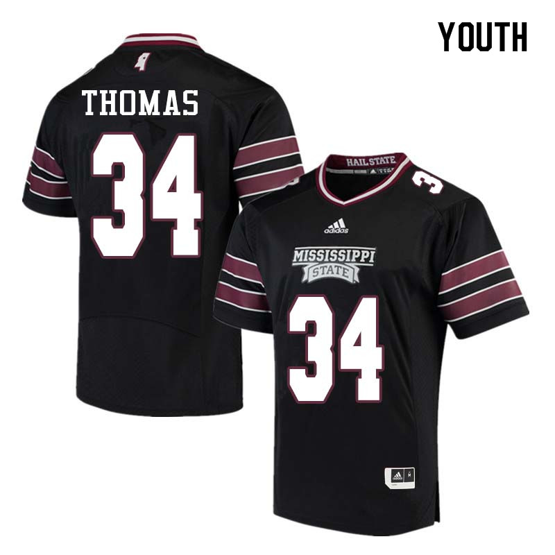 Youth #34 Cory Thomas Mississippi State Bulldogs College Football Jerseys Sale-Black