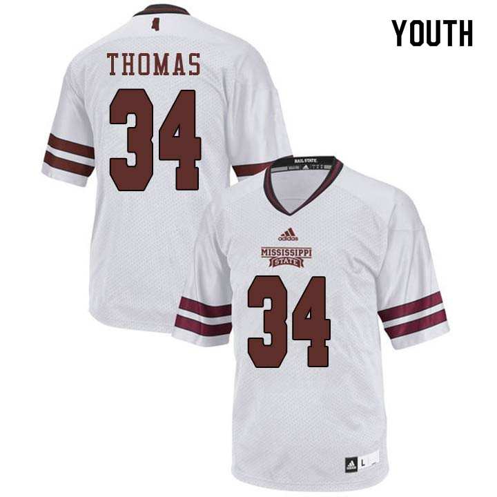 Youth #34 Cory Thomas Mississippi State Bulldogs College Football Jerseys Sale-White