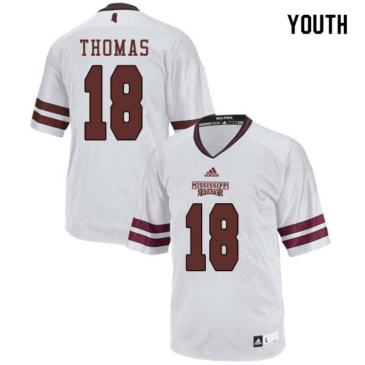 Youth #18 Deddrick Thomas Mississippi State Bulldogs College Football Jerseys Sale-White