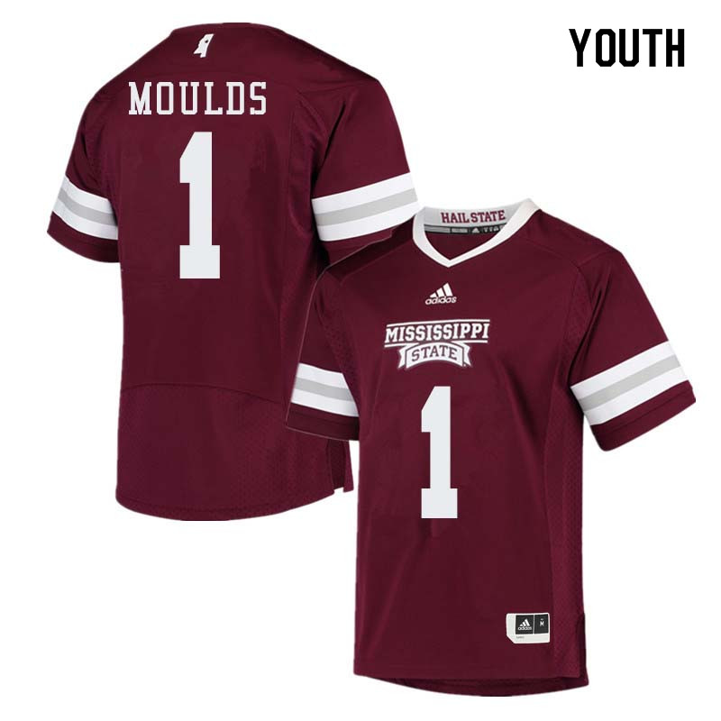 Youth #1 Eric Moulds Mississippi State Bulldogs College Football Jerseys Sale-Maroon