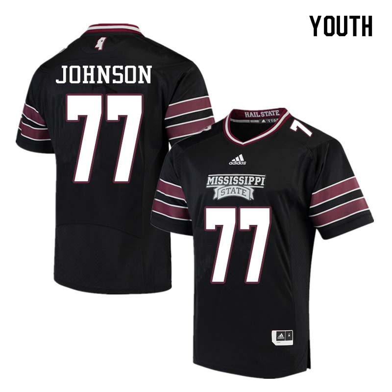 Youth #77 Jawon Johnson Mississippi State Bulldogs College Football Jerseys Sale-Black