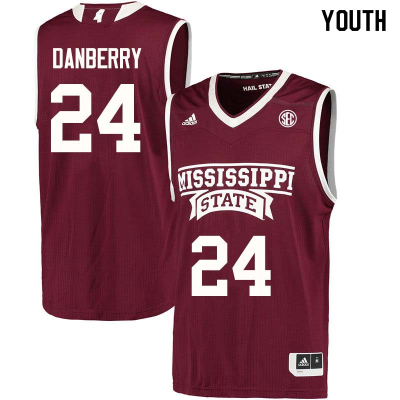 Youth #24 Jordan Danberry Mississippi State Bulldogs College Basketball Jerseys Sale-Maroon