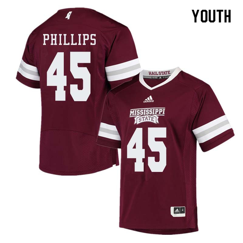 Youth #45 Josiah Phillips Mississippi State Bulldogs College Football Jerseys Sale-Maroon