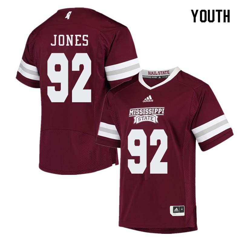 Youth #92 Kendell Jones Mississippi State Bulldogs College Football Jerseys Sale-Maroon
