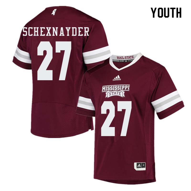 Youth #27 Kody Schexnayder Mississippi State Bulldogs College Football Jerseys Sale-Maroon