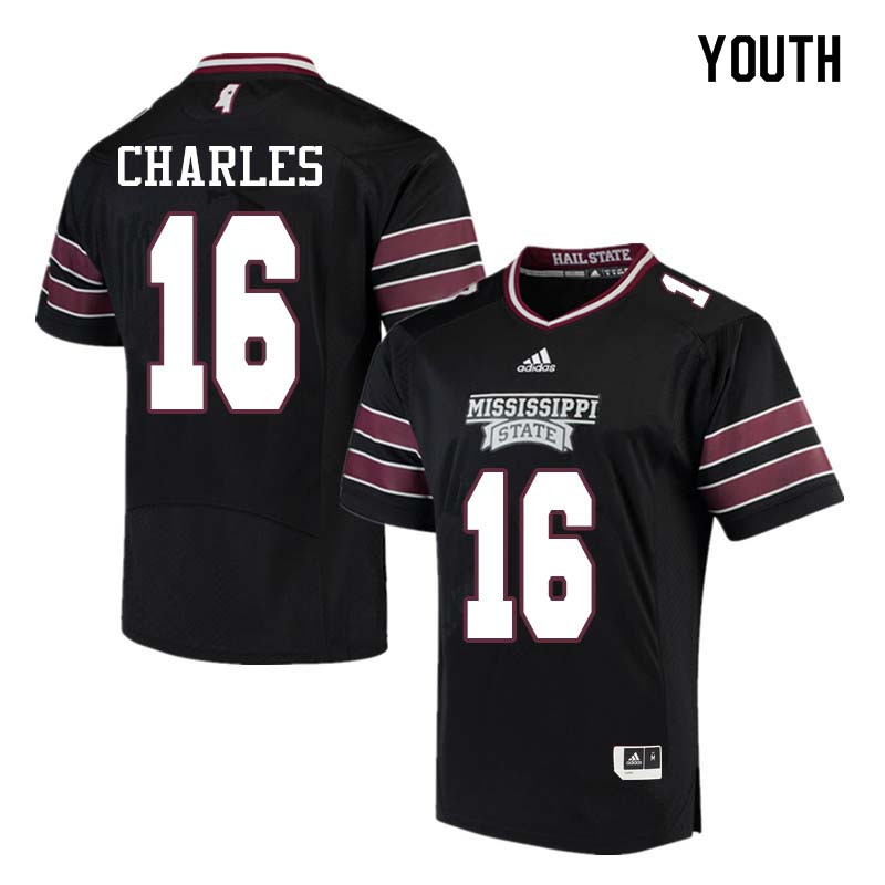 Youth #16 Korey Charles Mississippi State Bulldogs College Football Jerseys Sale-Black