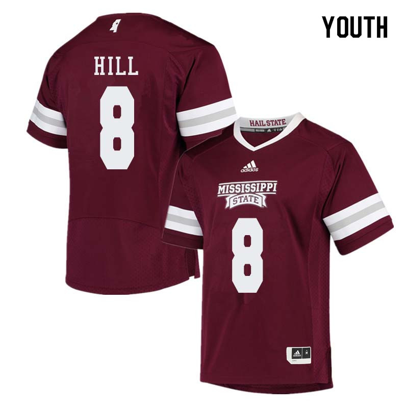 Youth #8 Kylin Hill Mississippi State Bulldogs College Football Jerseys Sale-Maroon