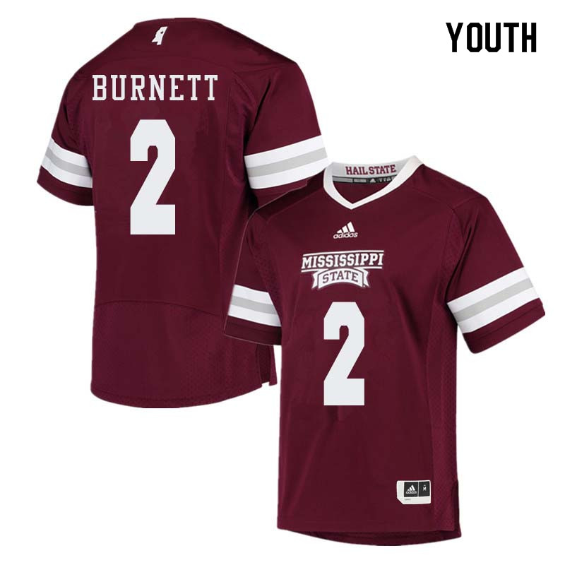 Youth #2 Logan Burnett Mississippi State Bulldogs College Football Jerseys Sale-Maroon