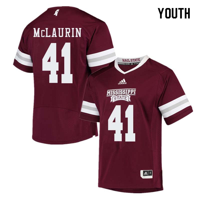 Youth #41 Mark McLaurin Mississippi State Bulldogs College Football Jerseys Sale-Maroon