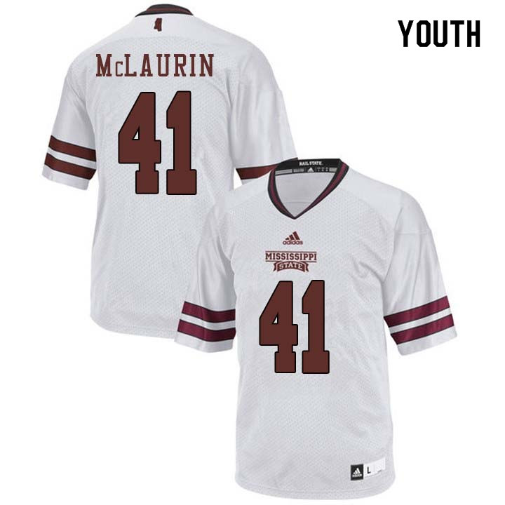 Youth #41 Mark McLaurin Mississippi State Bulldogs College Football Jerseys Sale-White