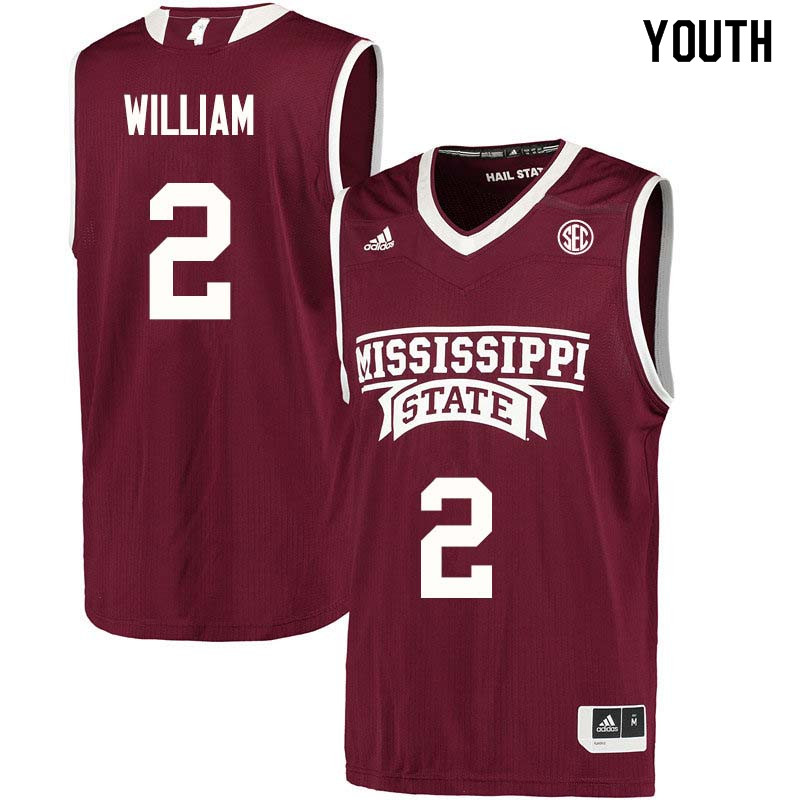 Youth #2 Morgan William Mississippi State Bulldogs College Basketball Jerseys Sale-Maroon