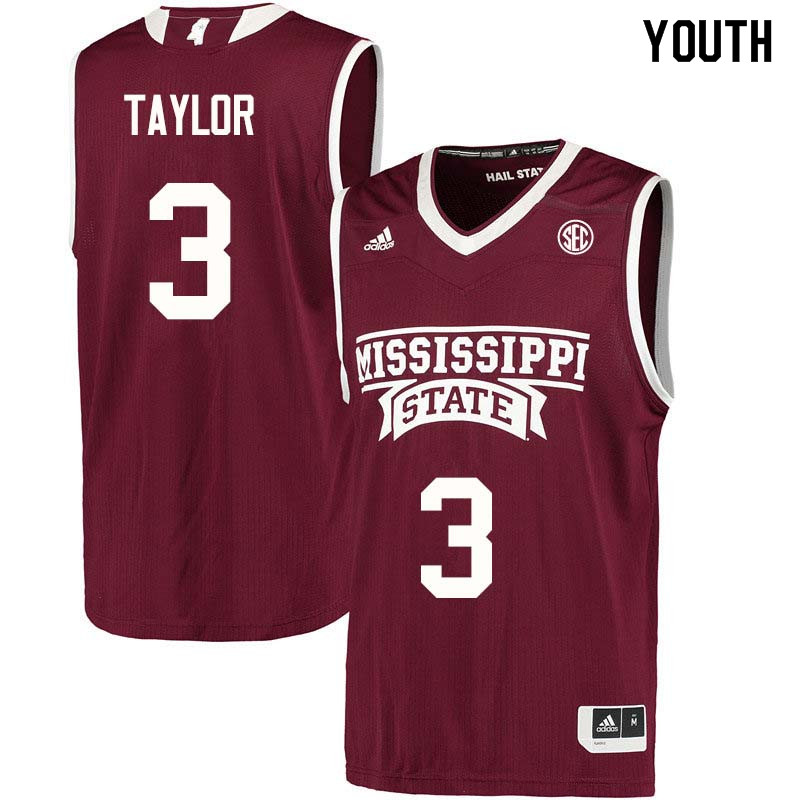Youth #3 Myah Taylor Mississippi State Bulldogs College Basketball Jerseys Sale-Maroon