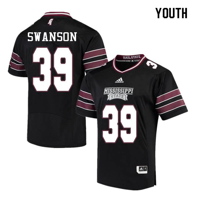 Youth #39 Nathan Swanson Mississippi State Bulldogs College Football Jerseys Sale-Black