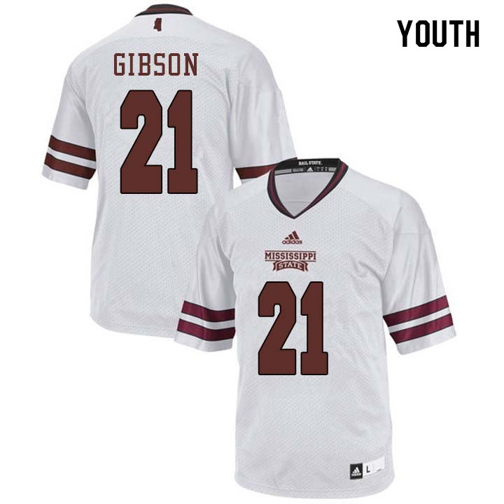 Youth #21 Nick Gibson Mississippi State Bulldogs College Football Jerseys Sale-White