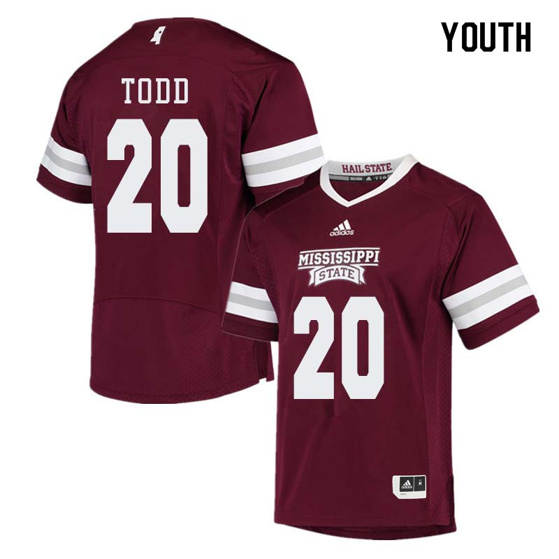 Youth #20 Reginald Todd Mississippi State Bulldogs College Football Jerseys Sale-Maroon