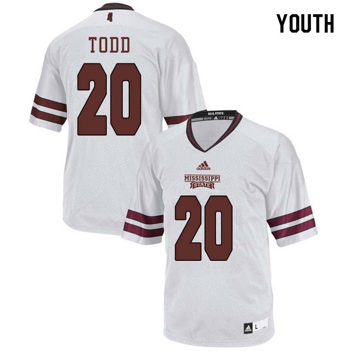 Youth #20 Reginald Todd Mississippi State Bulldogs College Football Jerseys Sale-White